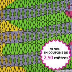 Wax africain filet fuchsia et vert, vendu en coupon de 2,50 mètres