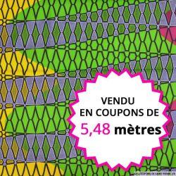 Wax africain filet fuchsia et vert, vendu en coupon de 5,48 mètres