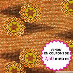 Wax africain étoile filante orange, vendu en coupon de 2,50 mètres