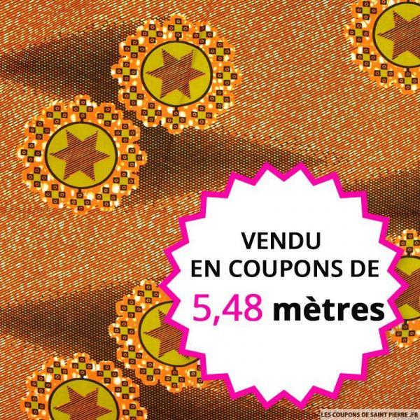 Wax africain étoile filante orange, vendu en coupon de 5,48 mètres