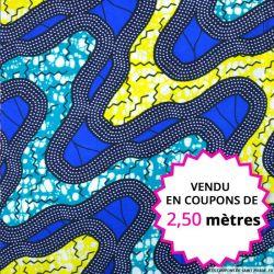 Wax africain rivière bleu et jaune, vendu en coupon de 2,50 mètres
