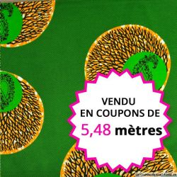 Wax africain méditation fond vert, vendu en coupon de 5,48 mètres