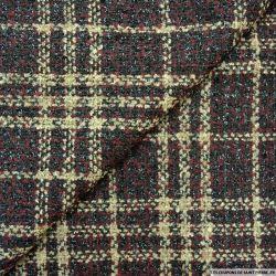 Tweed polyviscose carreaux irisé bordeaux, noir et beige