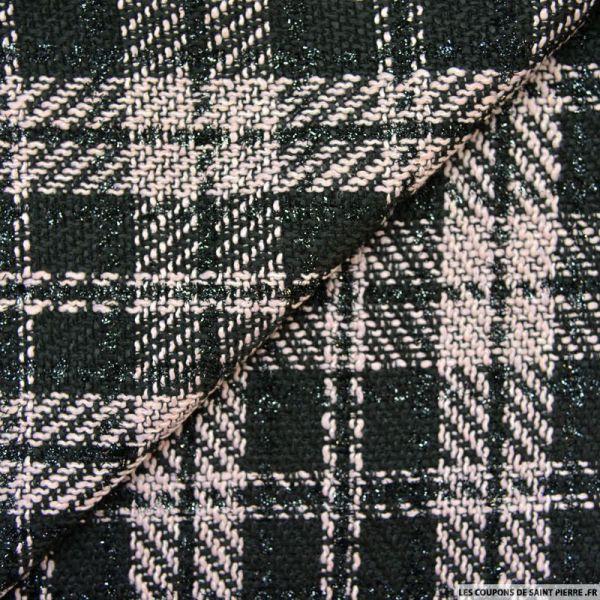Tweed polyviscose carreaux irisé noir et rose
