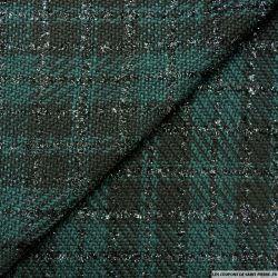 Tweed polyviscose carreaux irisé vert et noir