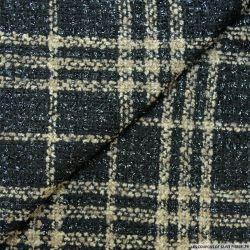 Tweed polyviscose carreaux irisé noir et beige