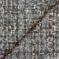 Tweed polyviscose carreaux irisé gris, rose et noir