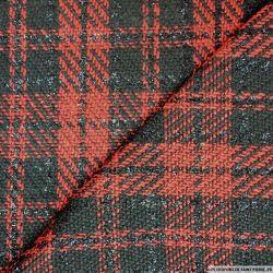 Tweed polyviscose carreaux irisé noir et rouge