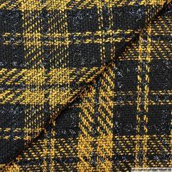 Tweed polyester carreaux irisé noir et ocre