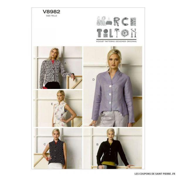 Patron Vogue V8982 : Veste et gilet ample