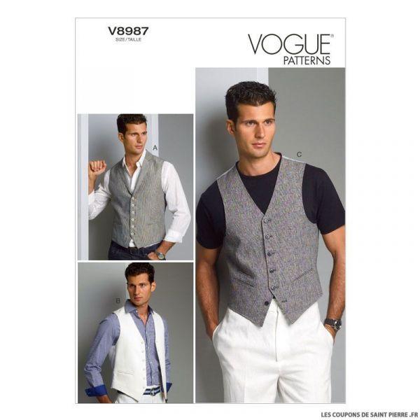 Patron homme Vogue V8987 : Gilet