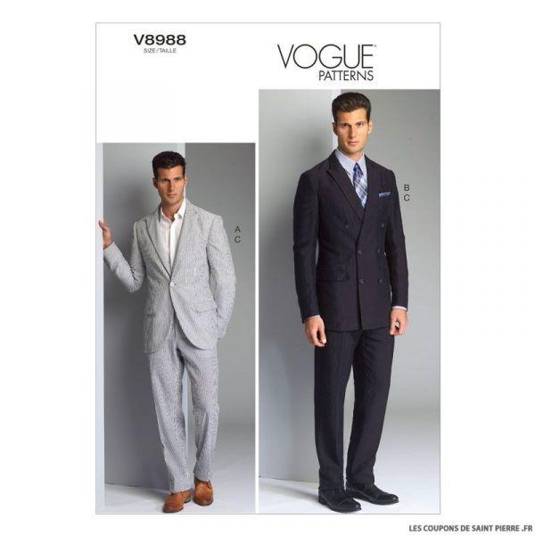 Patron homme Vogue V8988 : Veste et pantalon