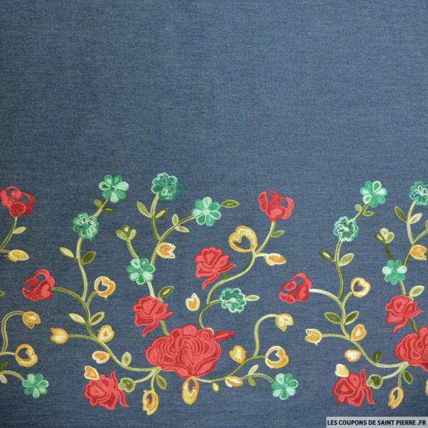 Jean's coton fin brodé roses rouges