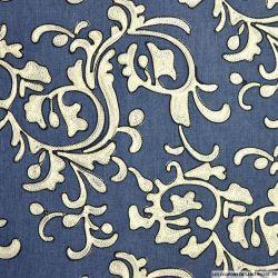 Jean's coton fin brodé arabesque blanc
