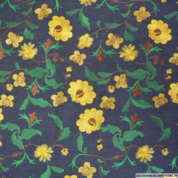Jean's coton fin brodé fleurs jaunes