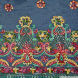 Jean's coton fin brodé fleurs fantaisie