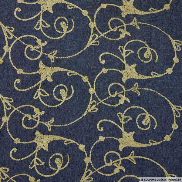 Jean's coton fin brodé arabesque beige