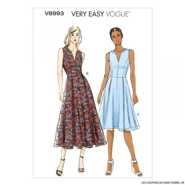 Patron Vogue V893 : Robe à fermeture à glissière