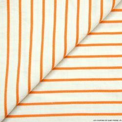 Lin mélangé rayé écru et orange