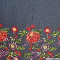 Jean's coton fin brodé fleurs rouge et violet