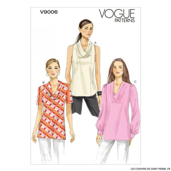 V9006Top cuello Vogue Pattern drapeado de wOX0PnN8k