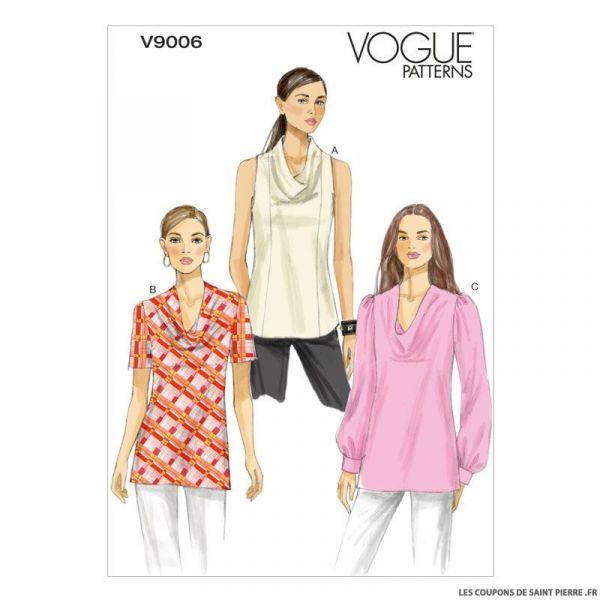 Patron Vogue V9006 : Haut à col drapé