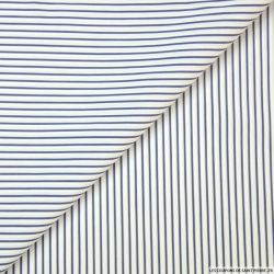 Coton élasthane rayures bleu et blanc