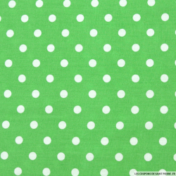 Coton imprimé pois ∅ 7 mm blanc fond vert