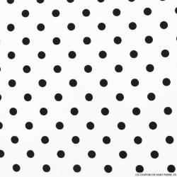 Coton imprimé pois Ø 7 mm noir fond blanc cassé