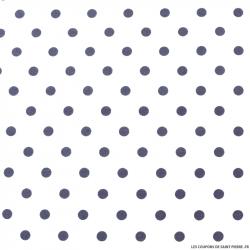 Coton imprimé pois ∅ 7 mm ardoise fond blanc cassé