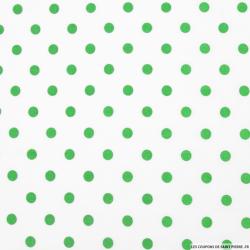 Coton imprimé pois Ø 7 mm vert fond blanc cassé