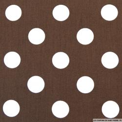 Coton imprimé pois Ø 2,2 cm blanc fond chocolat