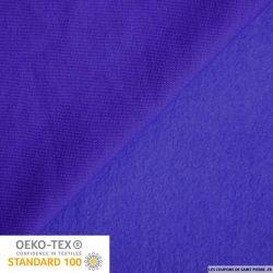 Tissu sweat minkee bleu indigo
