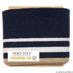 Bord côte rayé marine blanc et doré Oeko-Tex