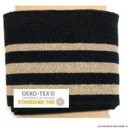 Bord côte rayé noir doré Oeko-Tex