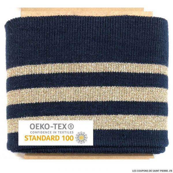 Bord côte rayé marine doré Oeko-Tex