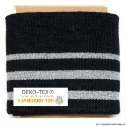 Bord côte rayé noir argent Oeko-Tex