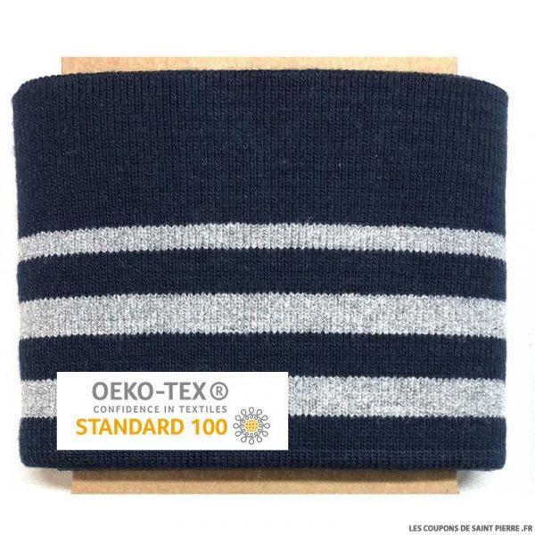 Bord côte rayé marine argent Oeko-Tex