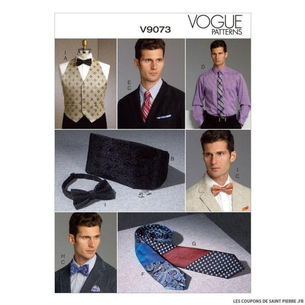 Patron Vogue V9073 : Gilet, large ceinture et pochette Homme
