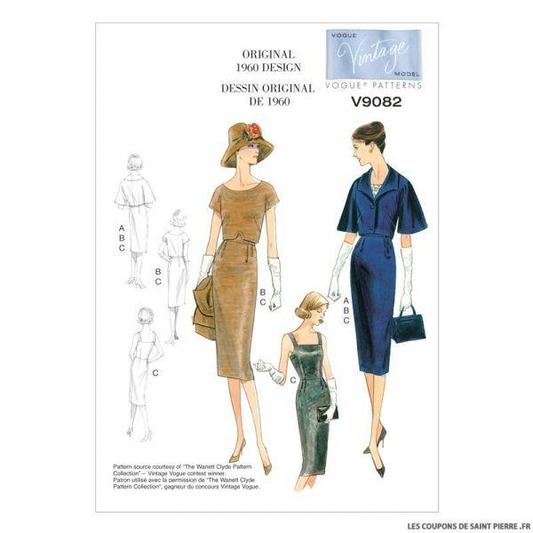 Patron Vogue V9082 : Veste, haut et robe