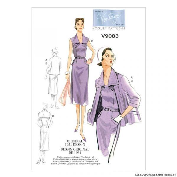 Patron Vogue V9083 : Veste, robe et ceinture