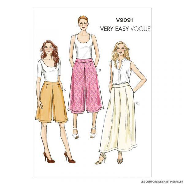 Patron Vogue V9091 : Jupe-culotte et pantalon