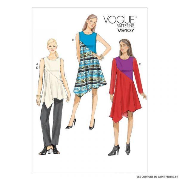 Patron Vogue V9107 : Tunique, robe et pantalon