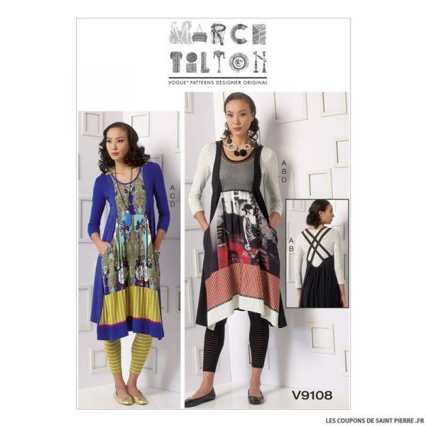 Patron Vogue V9108 : Haut, robe et collant