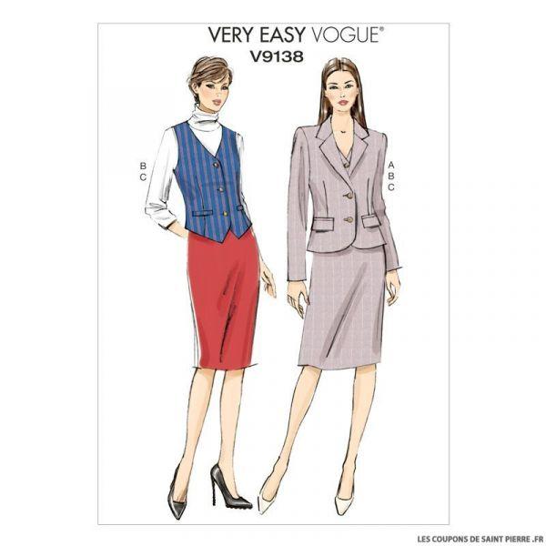 Patron Vogue V9138 : Veste, gilet et jupe