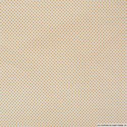 Coton imprimé pois Ø 1mm orange fond blanc cassé