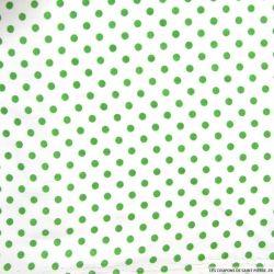 Coton imprimé pois Ø 5 mm vert fond blanc cassé
