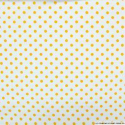 Coton imprimé pois Ø 5 mm orange fond blanc cassé