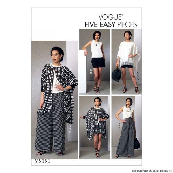 Patron Vogue V9191 : Poncho, haut, short et pantalon
