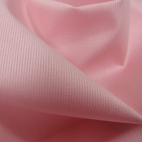 Tissu Piqué de coton milleraies uni rose